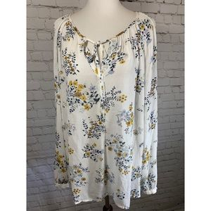 Lucky Brand White Floral Boho Long Sleeve Blouse